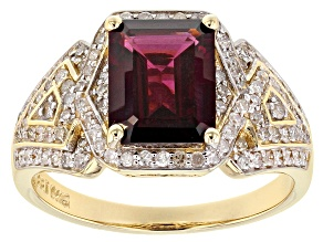 Grape Color Garnet And White Diamond 14k Yellow Gold Ring 3.07ctw