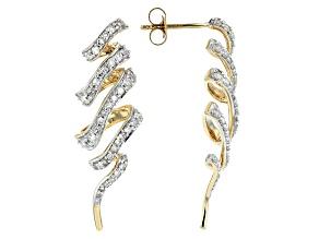 White Diamond 14k Yellow Gold Earrings .75ctw