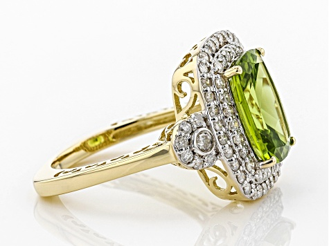 Green Peridot And White Diamond 14K Yellow Gold Ring 4.55ctw