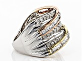 White Diamond 14K Three-Tone Gold Ring 1.00ctw