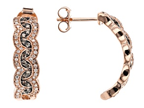 Champagne And White Diamond 14k Rose Gold Earrings .50ctw