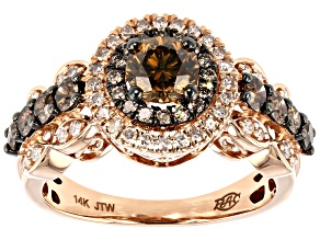 Champagne And White Diamond 14K Rose Gold Center Design Ring 1.50ctw