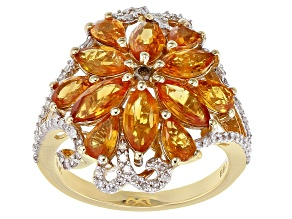 Champagne And White Diamond And Orange Sapphire 14K Yellow Gold Ring 4.94ctw