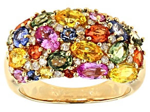 Multi-Color Sapphire And White Diamond 14K Yellow Gold Ring 4.69ctw