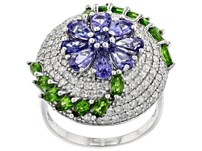 Blue Tanzanite, Green Chrome Diopside, & White Diamond 14K White Gold Ring 3.96ctw