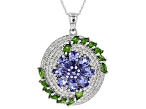 Blue Tanzanite, Green Chrome Diopside & White Diamond 14K White Gold Pendant 3.96ctw