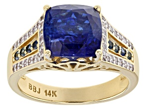 White Diamond and Blue Kyanite and Sapphire 14K Yellow Gold Ring 4.87ctw