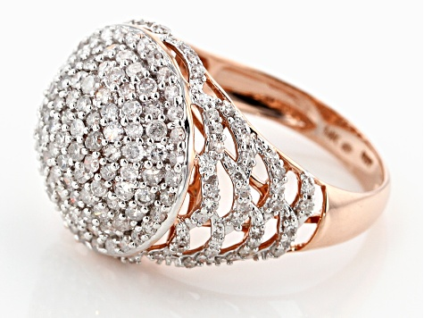 White Diamond 14K Rose Gold Ring 1.50ctw