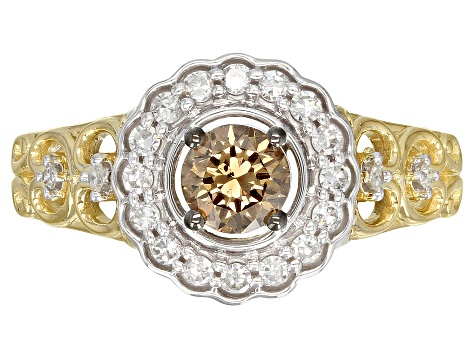 Champagne And White Diamond 14k Yellow And White Gold Ring 0.75ctw