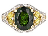 Chrome Diopside, Yellow Sapphire and White Diamond 14k Yellow Gold Ring 4.57ctw