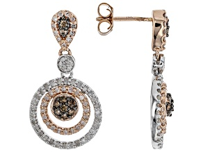 Champagne And White Diamond 14K Two-Tone Gold Earrings 1.21ctw