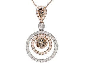 Champagne And White Diamond 14K Two-Tone Gold Pendant 1.00ctw
