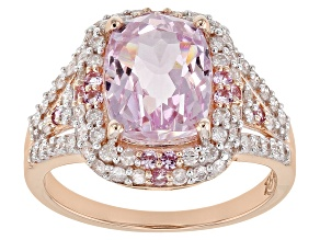 Kunzite, White Diamond And Pink Sapphire 14k Rose Gold Ring 4.48ctw