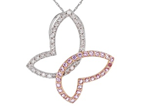 White Diamond And Pink Sapphire 14k White And Rose Gold Butterfly Pendant With Chain 0.93ctw