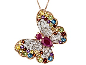Mozambique Ruby And Multi-Gemstone 14k Rose Gold Butterfly Pendant With Chain 2.07ctw