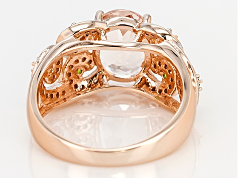 Morganite, Chrome Diopside, And White Diamond 14k Rose Gold Ring 2.90ctw