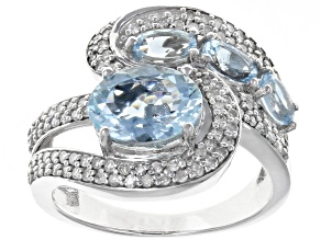 White Diamond And Aquamarine 14k White Gold Ring 2.71ctw
