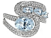 Aquamarine And White Diamond 14k White Gold Ring 2.71ctw