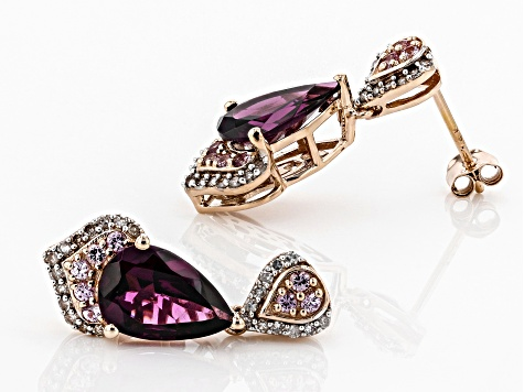 Grape Color Garnet, Pink Sapphire, And White Diamond 14k Rose Gold Earrings 5.07ctw