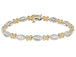 White Diamond 14k Two-Tone Gold Bracelet 1.50ctw
