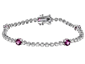 Grape Color Garnet And White Diamond 14k White Gold Bracelet 5.09ctw
