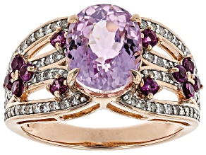 Pink Kunzite, Grape Color Garnet, And White Diamond 14K Rose Gold Ring 4.22ctw