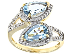 White Diamond And Aquamarine 14K Yellow Gold Ring 2.73ctw