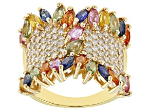 Multi-Color Sapphire And White Diamond 14K Yellow Gold Ring 3.65ctw