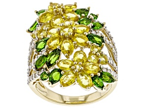 Yellow Sapphire, Green Chrome Diopside, & White Diamond 14K Yellow Gold Ring 6.38ctw