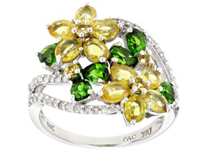 Yellow Sapphire, Green Chrome Diopside, & White Diamond 14K White Gold Ring 3.26ctw