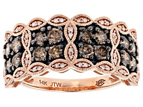 Champagne And White Diamond 14k Rose Gold Ring 1.00ctw