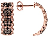 Champagne And White Diamond 14k Rose Gold Earrings 0.75ctw