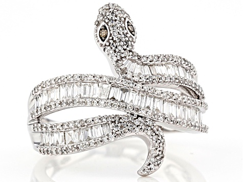 White and Champagne Diamond 14k White Gold Snake Ring .88ctw