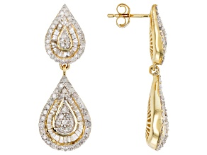 White Diamond 14K Yellow Gold Earrings 2.46ctw