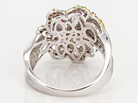 Pink Sapphire And Yellow & White Diamond  14k White Gold Ring 2.46ctw