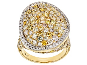 Natural Multi-Color Diamond 14k Yellow Gold Ring 4.96ctw