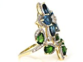London Blue Topaz, Green Chrome Diopside, & White Diamond 14K Yellow Gold Ring 5.80ctw