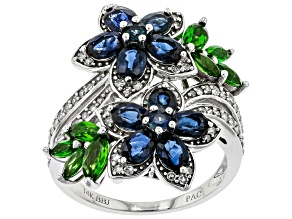 Blue Sapphire, Green Chrome Diopside, & White Diamond 14K White Gold Ring 2.95ctw