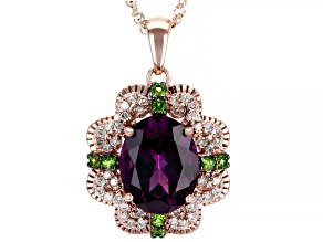Grape Color Garnet, Green Chrome Diopside, & White Diamond 14K Rose Gold Pendant 2.66ctw