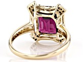 Grape Color Garnet And Champagne & White Diamond 14K Yellow Gold Ring 3.37ctw
