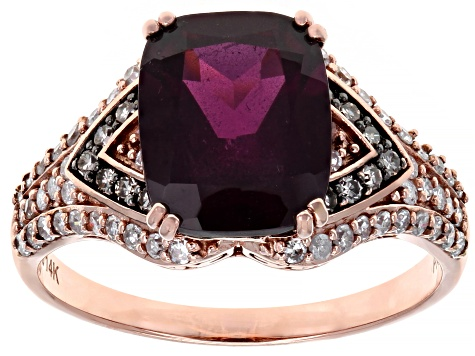 Grape Color Garnet And Champagne & White Diamond 14K Rose Gold Ring 3.48ctw