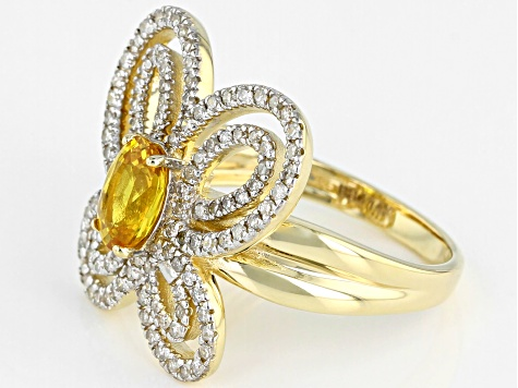 Yellow Sapphire And White Diamond 14K Yellow Gold Ring 1.29ctw