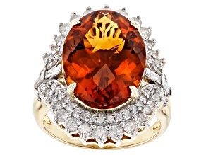 Orange Madeira Citrine And White Diamond 14K Yellow Gold Ring 8.92ctw