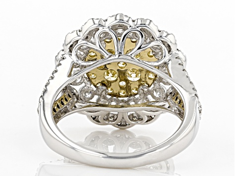 Natural Yellow And White Diamond 14K Yellow And White Gold Ring 2.00ctw