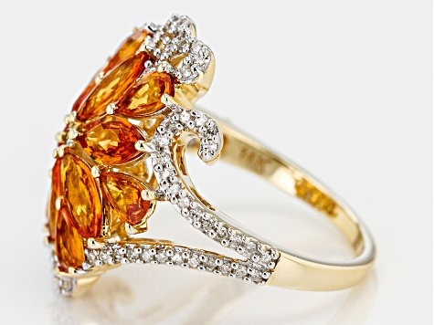Orange Sapphire, Champagne And White Diamond 14K Yellow Gold Ring 3.35ctw