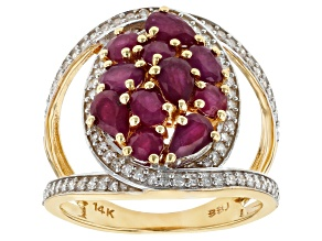 Red Burmese Ruby And White Diamond 14K Yellow Gold Ring 2.65ctw
