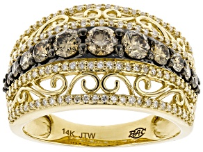 Champagne & White Diamond 14K Yellow Gold Ring 1.25ctw