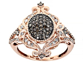 Champagne & White Diamond 14K Rose Gold Ring 0.60ctw