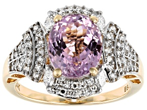 Pink Kunzite And White Diamond 14K Yellow Gold Ring 3.67ctw