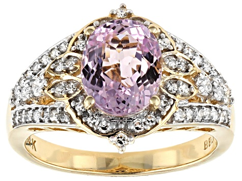 Pink Kunzite And White Diamond 14K Yellow Gold Ring 2.57ctw